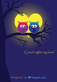 Búhos en diseño de tarjeta de amor con luna de San Valentín