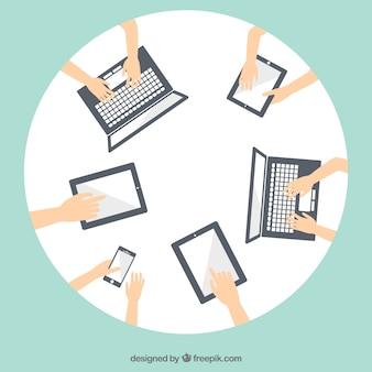 Reunión de negocios con tecnología