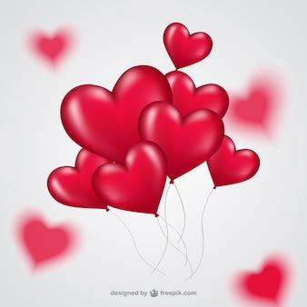 Manojo de globos de corazón