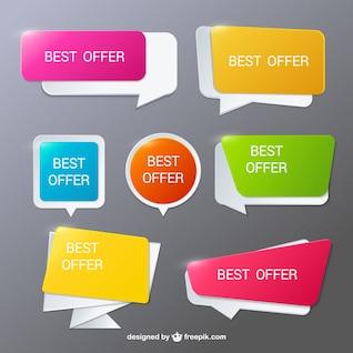 Burbujas de diálogo modernas para ofertas