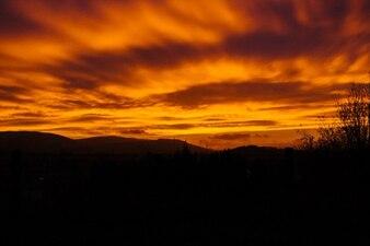 La quema de la puesta del sol