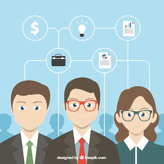 Infografía de negocios con empresarios