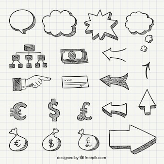 Símbolos empresariales en estilo dibujado a mano
