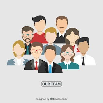 Avatares del equipo de negocios