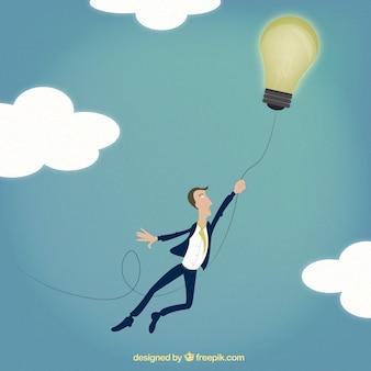 Hombre de negocios volando con una idea
