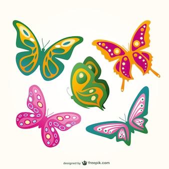 Conjunto de mariposas de colores volando