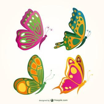 Colección de mariposas de colores
