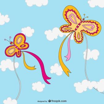 Cometas con forma de mariposa