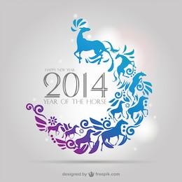 Caballos en diseño floral del año 2014 en vector