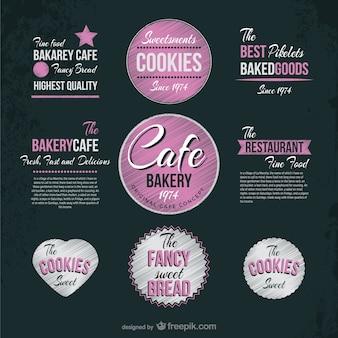Etiquetas de cafetería y pastelería