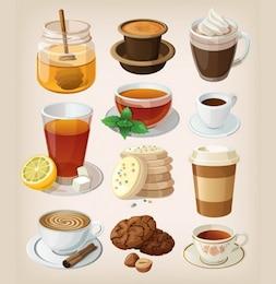 Café y té ruptura con golosinas dulces