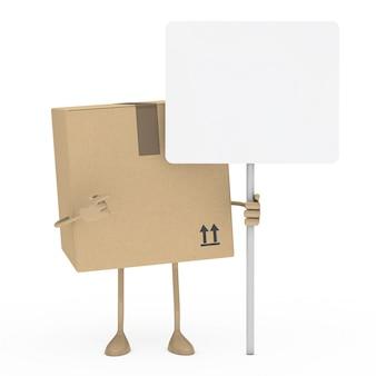 Caja de cartón mostrando un letrero vacío