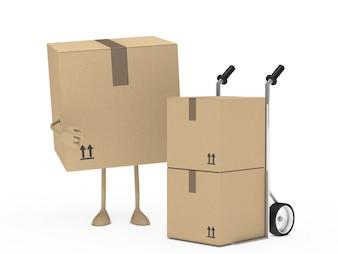 Caja de cartón señalando otras cajas