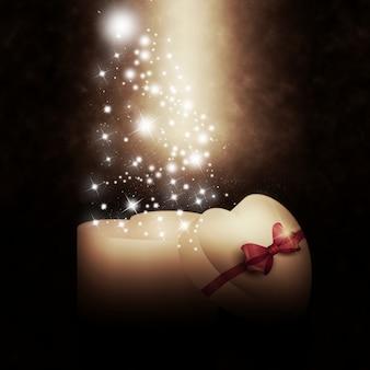 Caja de regalo en forma de corazón con estrellas brillantes