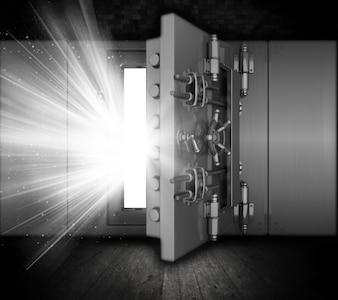 Caja fuerte con los rayos de luz que salen hacia fuera