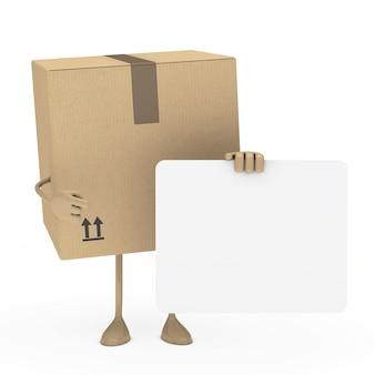 Caja posando con un cartel en blanco