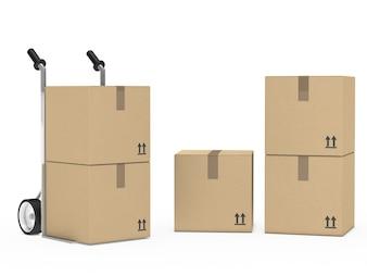 Cajas de cartón preparadas para la mudanza