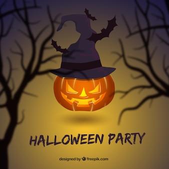 calabaza de Halloween con un sombrero de bruja