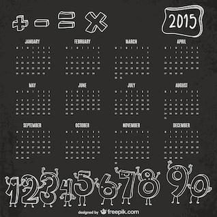 Calendario 2015 con números
