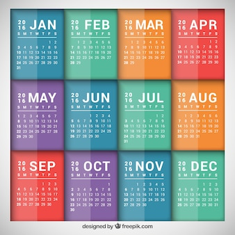 Calendario plantilla colorida