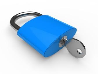 Candado azul con una llave