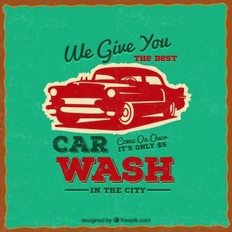 Cartel de lavado de coches en estilo retro