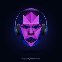 Cara poligonal con auriculares
