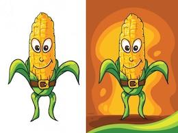 Carácter de maíz amarillo en el diseño de dibujos animados