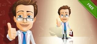 Carácter médico con el caso y signo de aprobación