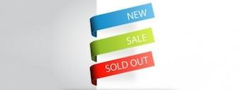 Característica esquina ventas etiqueta vector set