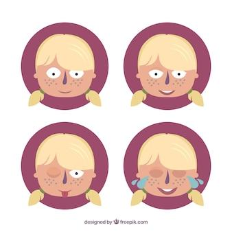 Caras de una niña de dibujos animados
