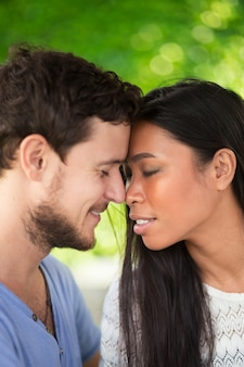 Cariñosa, multiétnico, pareja, tocar, frente