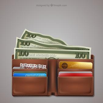 Carpeta con las tarjetas de crédito y dinero