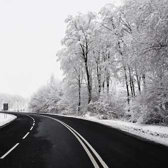 Carretera vacía con paisaje cubierto de nieve. Hermoso fondo estacional de invierno para el transporte y los coches.