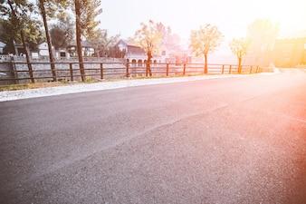 Carretera vacía en un día soleado