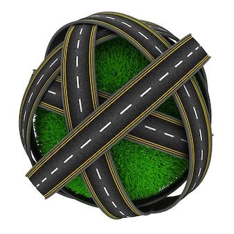 Carreteras rodeando una esfera