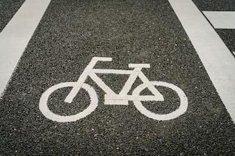 Carril de bicicleta en el camino