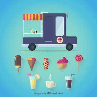Carrito de helados en estilo de dibujos animados