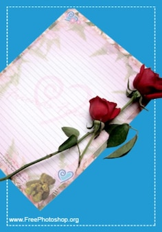 Carta de amor romántico con rosas