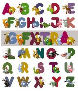 cartas de dibujos animados del vector alfabeto
