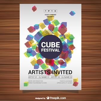Cartel con diseño de cubos
