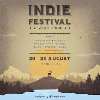 Cartel de festival Indie en estilo retro