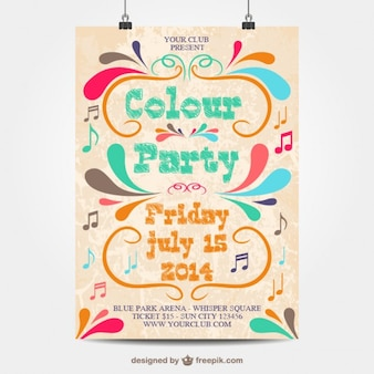 Cartel de fiesta de colores
