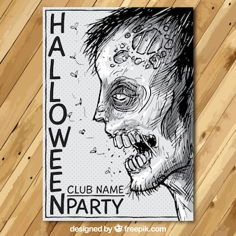 Cartel de fiesta de Halloween con un zombi dibujado a mano