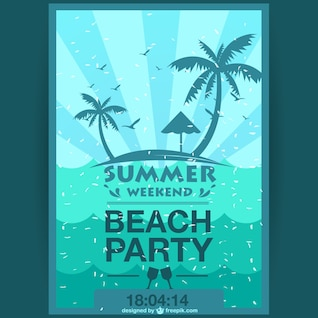 Cartel de fiesta en la playa