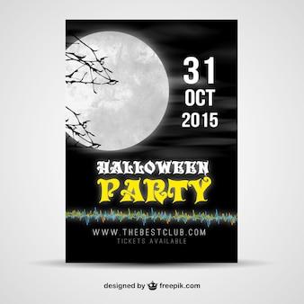 Cartel de fiesta halloween con luna grande