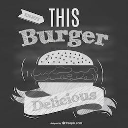 Cartel de hamburguesería retro con textura de pizarra