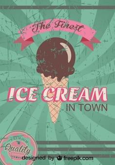 Cartel de helado retro grunge de la mejor calidad