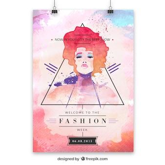 Cartel de la moda de la acuarela