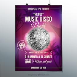 Cartel de la música de discoteca